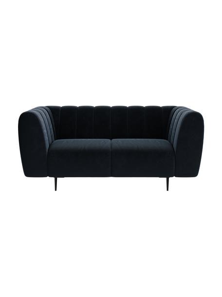 Sofa z aksamitu Shel (2-osobowa), Tapicerka: 100% aksamit poliestrowy, Stelaż: drewno liściaste, drewno , Nogi: metal powlekany Dzięki tk, Ciemny niebieski, S 170 x G 95 cm