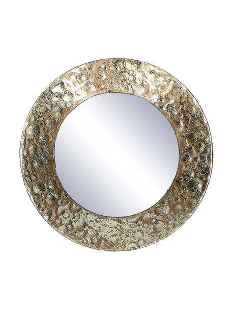 Okrągłe lustro ścienne z metalową ramą Fridy, Odcienie mosiądzu, Ø 21 x G 4 cm