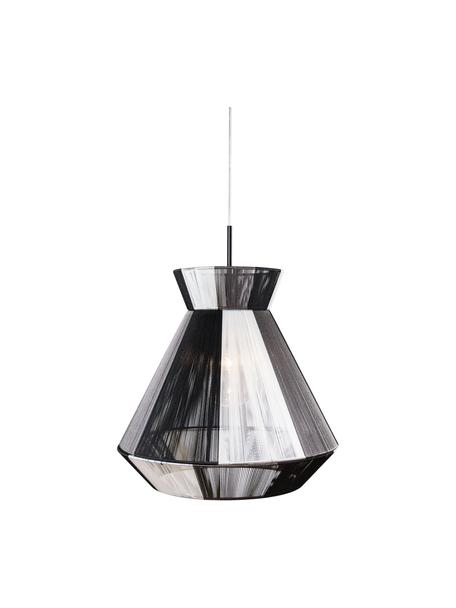 Zwart-witte hanglamp Random in koord optiek, Lampenkap: katoen, Zwart, wit, Ø 40 x H 38 cm