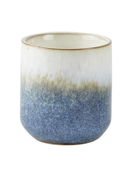 Geurkaars Sea Salt (kokosnoot & zeezout), Houder: keramiek, Blauw, beige, wit, Ø 7 x H 8 cm