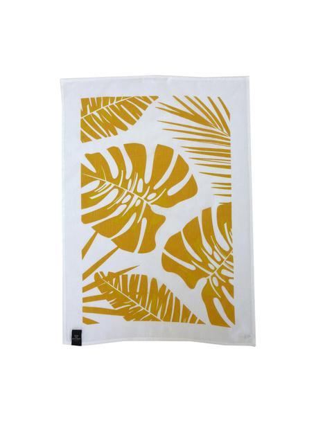 Paños de cocina de lino y algodón Urban Jungle, 2uds., 50%lino, 50%algodón, Blanco, amarillo, An 50 x L 70 cm