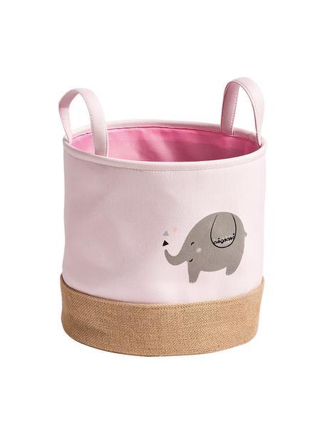 Opbergmand Elefant, Polyester, jute, Roze, grijs, beige, Ø 30 x H 29 cm
