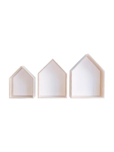 Wandrekkenset Blanca, 3-delig, Multiplex, Lichtbruin, wit, Set met verschillende formaten