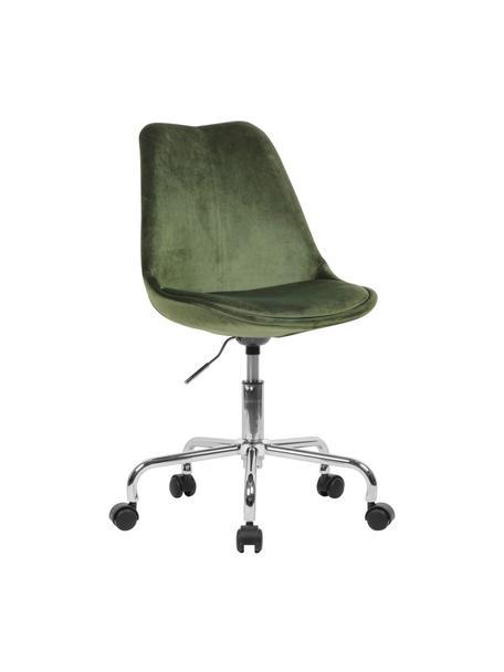 Sedia da ufficio girevole in velluto Lenka, Rivestimento: velluto, Struttura: metallo cromato, Velluto verde, Larg. 65 x Prof. 56 cm