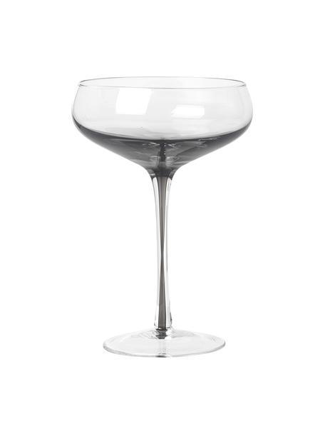 Copas pompadour de champán de vidrio soplado artesanalmente Smoke, 4uds., Vidrio, Transparente, gris oscuro, Ø 11 x Al 16 cm