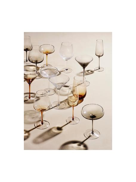 Kieliszek do szampana ze szkła dmuchanego Smoke, 4 szt., Szkło, Transparentny, przydymiony szary, Ø 11 x W 16 cm