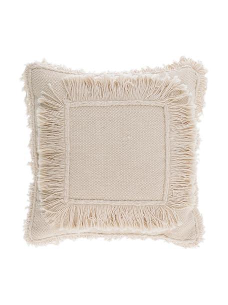 Boho-Kissenhülle Edelma mit Fransen, 100% Baumwolle, Beige, 45 x 45 cm
