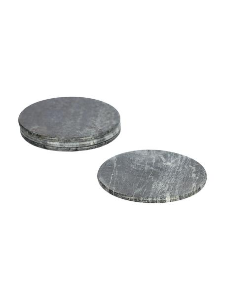 Marmeren onderzetters Tressa in grijs, 4 stuks, Marmer, Gemarmerd grijs, Ø 10 x H 1 cm
