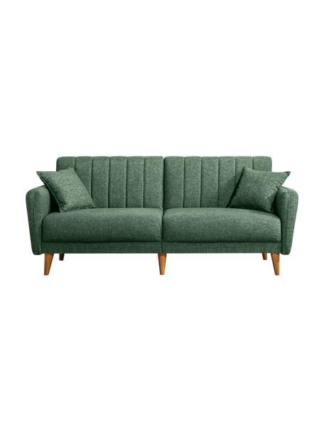 Sofa z funkcją spania (3-osobowa) Aqua, Tapicerka: len, Stelaż: drewno rogowe, metal, Nogi: drewno naturalne, Zielony, S 202 x G 85 cm