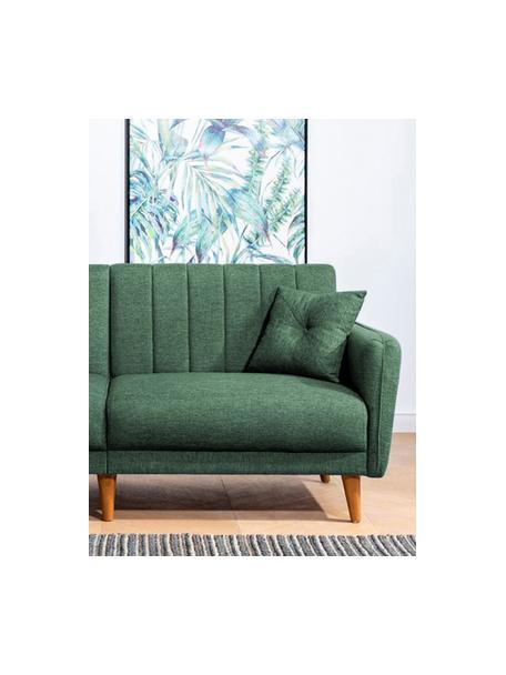 Divano letto 3 posti in lino verde Aqua, Rivestimento: lino, Struttura: corno, metallo, Piedini: legno, Verde, Larg. 202 x Prof. 85 cm