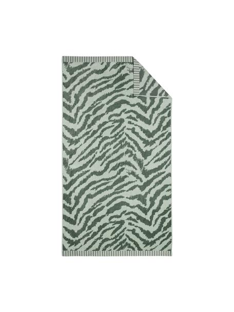 Strandlaken Belen met zebrapatroon in groen, Lichtgroen, donkergroen, 100 x 180 cm