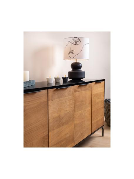 Grote moderne keramische tafellamp Georgina, Lampenkap: textiel, Lampvoet: keramiek, Decoratie: vermessingd metaal, Crèmewit, zwart, Ø 33 x H 52 cm