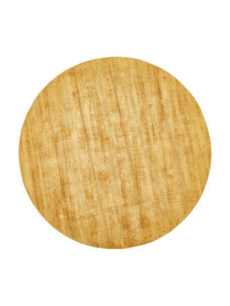 Rond viscose vloerkleed Jane in mosterdgeel, handgeweven, Bovenzijde: 100% viscose, Onderzijde: 100% katoen, Mosterdgeel, Ø 115 cm (maat S)
