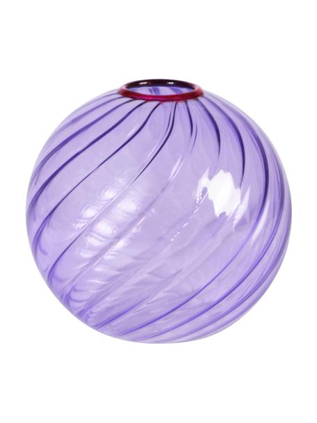 Kleine Glasvase Spiral in Lila, Glas, Lila, Ø 11 cm