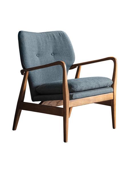 Sedia a poltrona in legno di quercia Jomlin, Rivestimento: lino, Struttura: legno di quercia, Grigio scuro, Larg. 70 x Prof. 60 cm