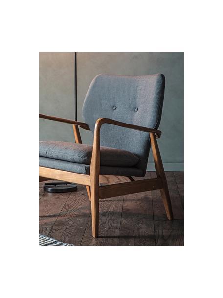 Sillón de madera de roble Jomlin, Tapizado: lino, Estructura: madera de roble, Gris oscuro, An 70 x F 60 cm