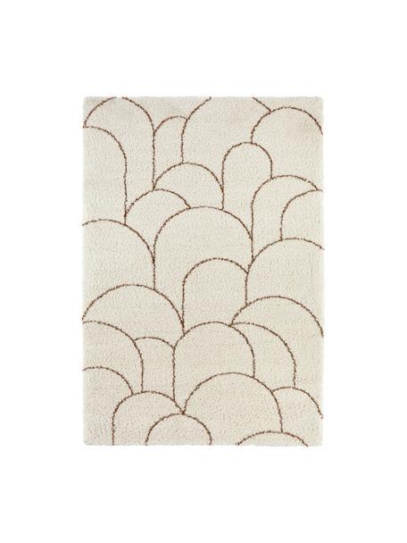 Hochflorteppich Desso in Creme mit grafischem Muster, 100% Polypropylen, Beige, Braun, B 80 x L 150 cm (Größe XS)