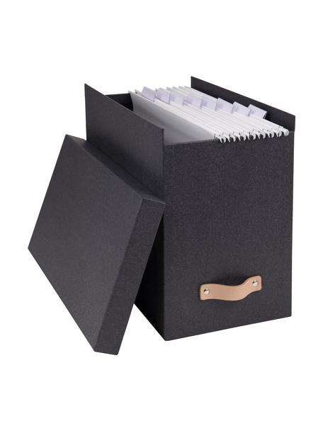 Archiefdoos Johan II, 9-delig, Organizer: massief karton, met houtd, Organizer buitenzijde: zwart. Organizer binnenzijde: zwart. Handvat: beige, 19 x 27 cm
