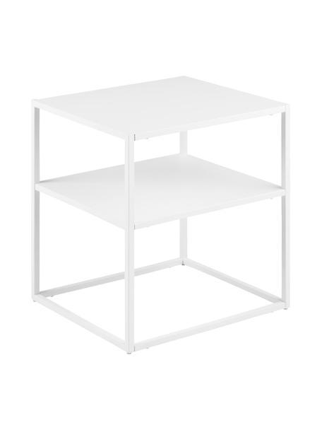 Tavolino in metallo bianco Newton, Metallo verniciato a polvere, Bianco, Larg. 45 x Prof. 40 cm