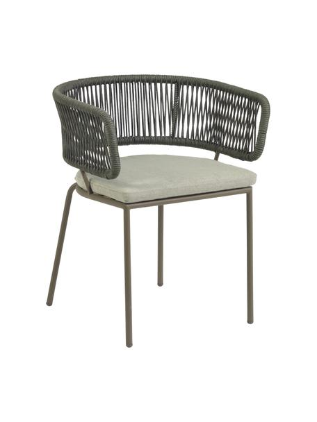 Sedia da giardino Nadin, Struttura: metallo zincato e vernici, Rivestimento: poliestere, Verde, Larg. 58 x Prof. 48 cm