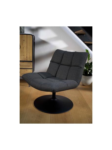 Sedia a poltrona girevole grigio scuro Bar, Rivestimento: poliestere Con 25.000 cic, Struttura: metallo, verniciato a pol, Tessuto grigio scuro, Larg. 66 x Alt. 81 cm
