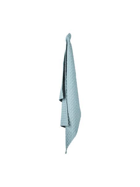 Paños de cocina con estructura gofre de algodón Wanda, 2uds., Algodón orgánico, Azul claro, An 50 x L 70 cm