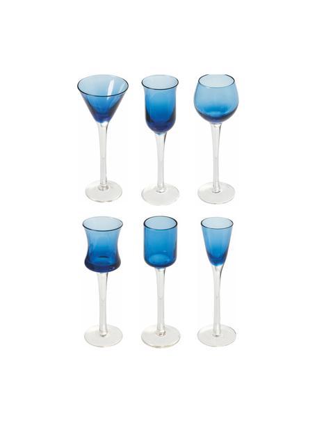 Set de vasos de chupito Chupos, 6uds., Vidrio, Azul, transparente, Ø 5 x Al 16 cm