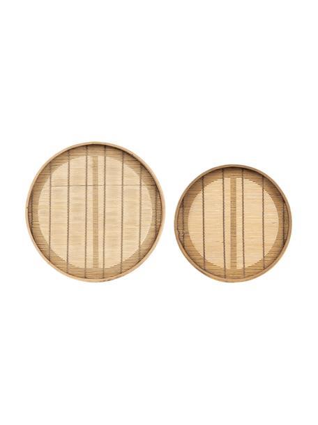 Dienbladenset Plaka van bamboehout en dennenhout, 2-delig, Bamboe, dennenhout, Beige, Set met verschillende formaten
