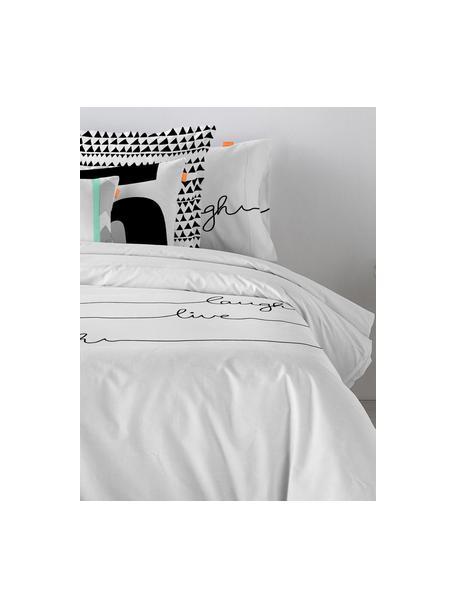 Dubbelzijdig dekbedovertrek Live, Katoen, Bovenzijde: wit, zwart. Onderzijde: wit, 140 x 200 cm