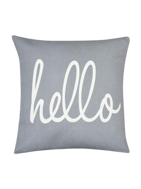 Kissenhülle Hello mit Schriftzug in Grau/Weiß, 100% Baumwolle, Panamabindung, Grau, Creme, 40 x 40 cm