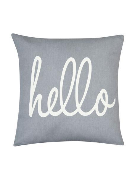 Federa arredo con scritta Hello, 100% cotone, tessuto panama, Grigio, crema, Larg. 40 x Lung. 40 cm