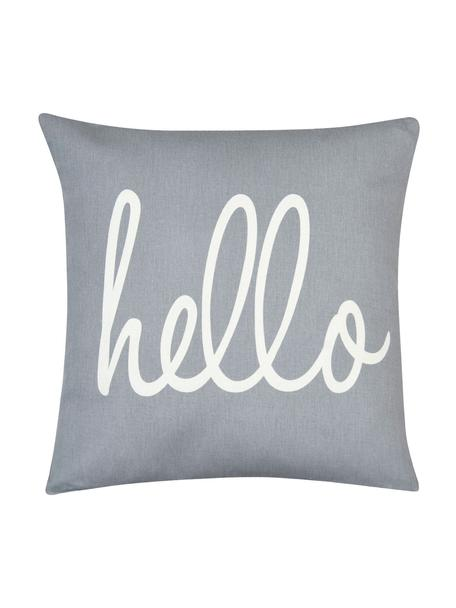Poszewka na poduszkę Hello, 100% bawełna, splot panama, Szary, kremowy, S 40 x D 40 cm