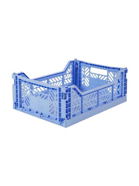 Caja plegable apilable Baby, mediana, Plástico reciclado, Azul claro, An 40 x Al 14 cm