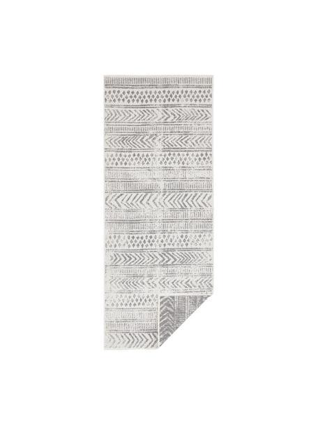 Dubbelzijdige in- en outdoor loper Biri met grafisch patroon in grijs/crèmekleur, 100% polypropyleen, Grijs, crèmekleurig, 80 x 250 cm