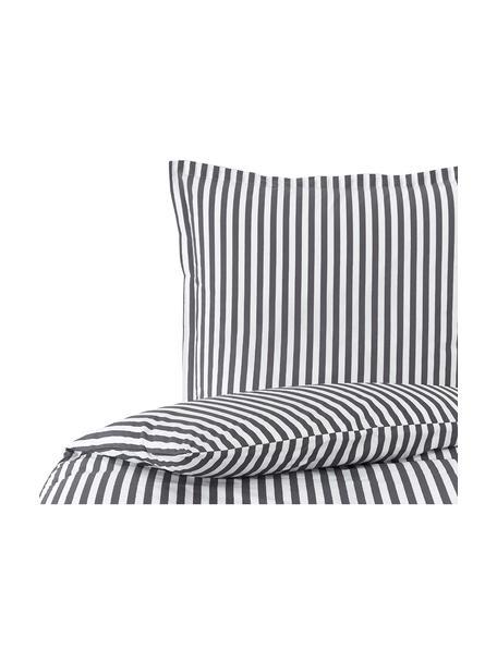 Pościel z bawełny Yuliya, Ciemnyszary, biały, 135 x 200 cm + 1 poduszka 80 x 80 cm