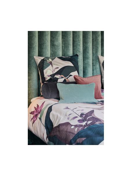 Cuscino a rullo in velluto effetto lucido Monet, Rivestimento: 100% velluto di poliester, Grigio scuro, Ø 18 x Lung. 50 cm