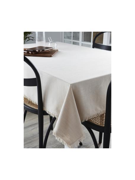 Obrus z bawełny z frędzlami Henley, 100% bawełna, Beżowy, Dla 6-10 osób (S 145 x D 250 cm)