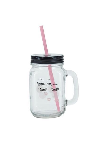 Vasos de cóctel con tapadera y pajita Closed Eyes, 2uds., Recipiente: vidrio, Tapa: metal, plástico, Transparente, negro, rosa, Ø 7 x Al 16 cm