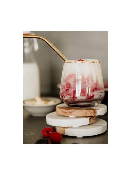 Marmor-Untersetzer Luxory Kitchen mit Holzdetails, 4 Stück, Marmor, Akazienholz, Messing, Weiß, Akazienholz, Messing, Ø 10 x H 2 cm