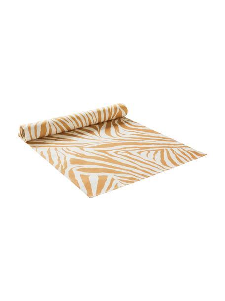 Tafelloper Zadie van katoen met zebrapatroon, 100% katoen, Mosterdgeel, crèmewit, 40 x 140 cm