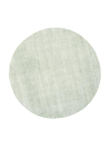 Alfombra redonda artesanal de viscosa Jane, Parte superior: 100%viscosa, Reverso: 100%algodón, Verde claro, Ø 115 cm (Tamaño XS)