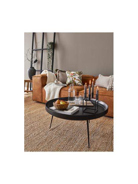 Design salontafel Bowl Table van mangohout, Tafelblad: mangohout, gebeitst, Poten: gepoedercoat staal, Zwart, Ø 75 x H 38 cm