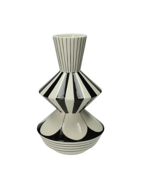 Vase Graphic, Steingut, Weiss, Schwarz, Ø 17 x H 29 cm