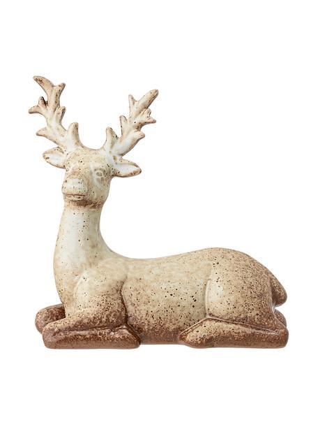 Handgefertigter Deko-Hirsch Deer H 15 cm, Steingut, Braun, Beige, 16 x 15 cm