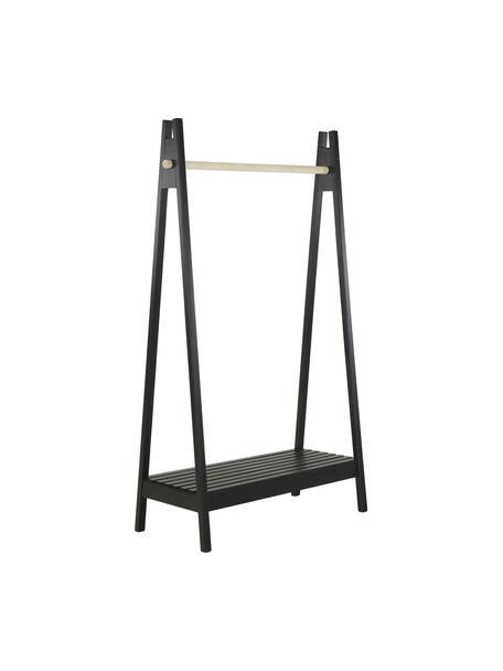 Appendiabiti nero in legno Torino, Legno di paulownia, pannelli di fibra a media densità (MDF), Nero, bianco, Larg. 95 x Prof. 39 cm