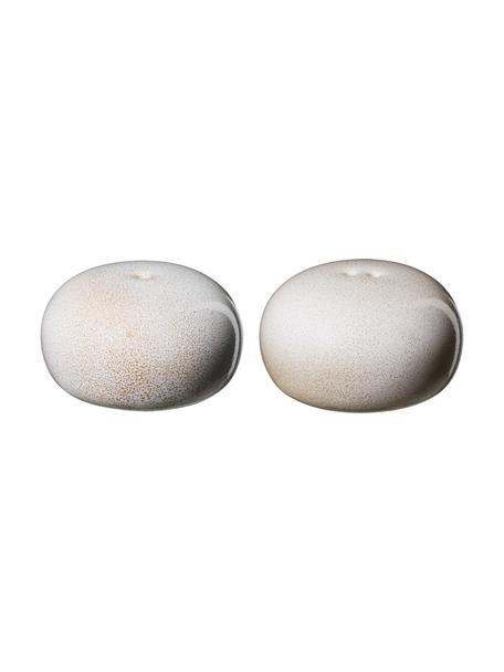 Komplet solniczki i pieprzniczki z kamionki Saisons, 2 elem., Kamionka, Beżowy, Ø 5 x W 3 cm