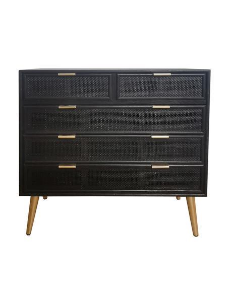 Cassettiera in legno Cayetana, Piedini: legno di bambù verniciato, Maniglie: metallo verniciato, Nero, Larg. 80 x Alt. 81 cm