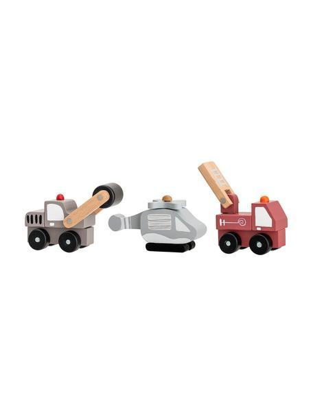 Spielzeugauto-Set Bruno, 3-tlg., Mitteldichte Holzfaserplatte (MDF), Schichtholz, Metall, Mehrfarbig, Set mit verschiedenen Grössen