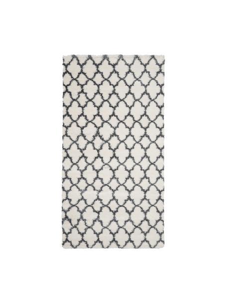 Hochflor-Teppich Mona in Cremeweiß/Dunkelgrau, Flor: 100% Polypropylen, Cremeweiß, Dunkelgrau, B 80 x L 150 cm (Größe XS)