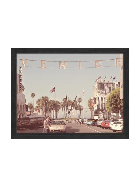 Stampa digitale incorniciata Venice Beach, Immagine: stampa digitale su carta,, Cornice: legno verniciato, Multicolore, Larg. 43 x Alt. 33 cm